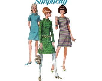 Women's A-Line Dress Sewing Pattern, Mini or Regular Length Misses Size 12 Bust 32 Vintage 1960's Simplicity 7246