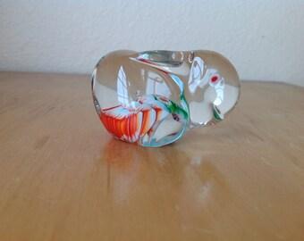 Vintage Glass Art Paperweight Bunny Rabbit