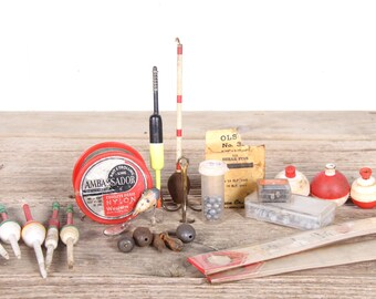 Vintage Fishing Equipment / Fishing Gift / Antique Fishing Gear / Old Fishing Lure / Unique Mens Gift / Weights / Bobbers
