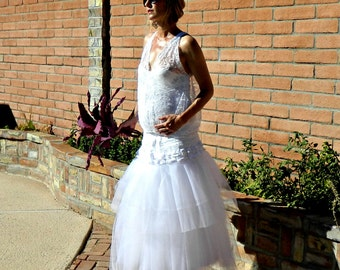 Maternity Tulle Wedding Skirt-Tulle Wedding Dress-Tulle Skirt-Long Tulle Skirt-Giselle Lace Tissue Linen Ruffled & Layered Tulle Bride Chic