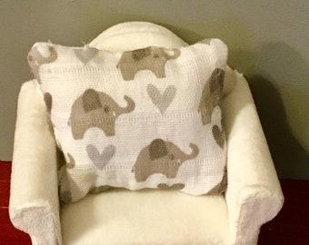 Dollhouse Miniature White & Gray Elephant Throw Pillow