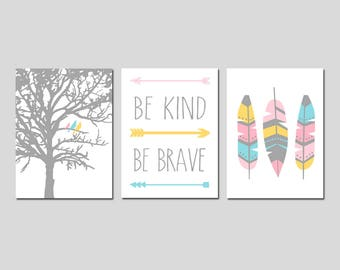 Tribal Nursery Art Girl Tribal Nursery Decor Feather Nursery Art Arrow Nursery Be Kind Be Brave Quote Set of 3 Prints - CHOOSE YOUR COLORS