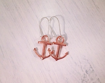 Rose gold anchor silver plated earrings