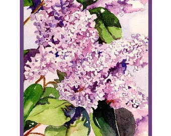 Lilac Watercolor Art Flower Notecards Lilacs Art Lilac Print Gift Boxed Set Stocking Stuffers Mother's Day Gift for Her