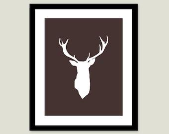 Deer Antlers Stag Digital Print Modern Home Decor Rustic Woodland Creature - Dark Brown Chocolate