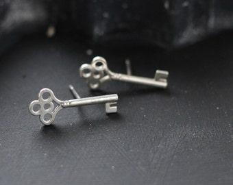 Sterling Key Earrings- Free Shipping