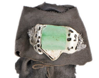 Green Cube Apophyllite Seascape Suede Cuff Wrap Bracelet