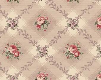 Ruru Bouquet Love Rose Love Cotton Fabric Rose ru2300-12f Roses on brown