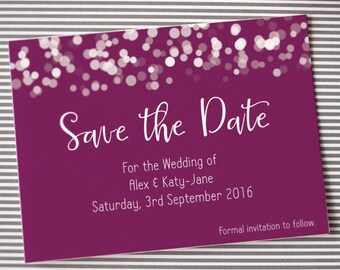 Save the date wedding magnet or card, plum glittering lights design
