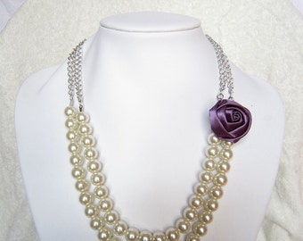 Purple Silk Ribbon Fabric Rosette Flower Necklace,Chain Necklace,Ivory Pearl Necklace,Party Bridesmaid Necklace,Charming Wedding Necklace