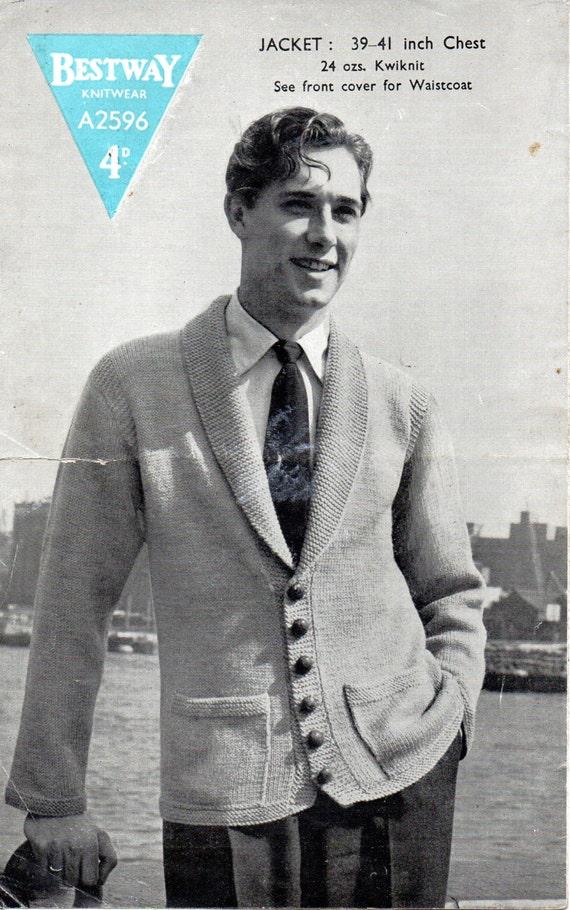 Mens Knitting Pattern 1940s Vintage Mens Cardigan With Shawl