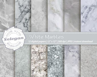 "Marble Digital Paper: "" White Marbles  ""  marble scrapbook paper, white marble digital paper print background, Marble Pattern & Texture"
