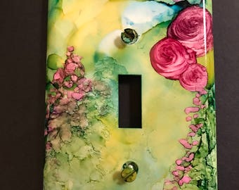 Green w/ Pink Roses- Switch Plate -Handpainted Wall Art Decor