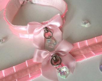 Baby Pink Thin Satin Kitten Play BDSM Collar