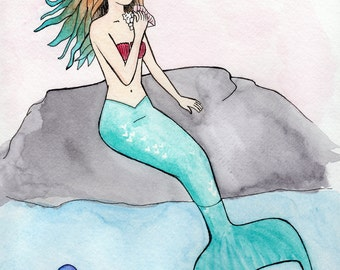 Mermaid - Watercolor Print on Canvas