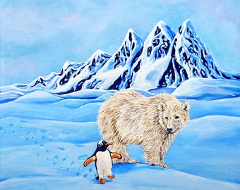 Polar Bear Penguin Original Acrylic Painting - Unlikely Friends
