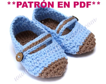 Pattern-Tutorial PDF - Sporty Baby booties. Immediate download. IN SPANISH