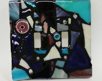 PUrPLeS,  AQuAS, and CReAM Mix - STAINED Glass MOSAIC Light Switch Cover - single, double, triple, outlet, or decora gfci - made to order