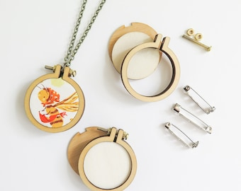 "3 Mini Embroidery Hoops Necklace Brooch Kit | 1.6"" (40mm) Embroidery Hoops from Dandelyne, Circular Mini Hoops, DIY Jewelry Kit"