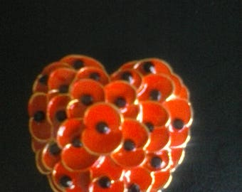 One 3 d red poppy heart enameled brooch, pin, lapel,