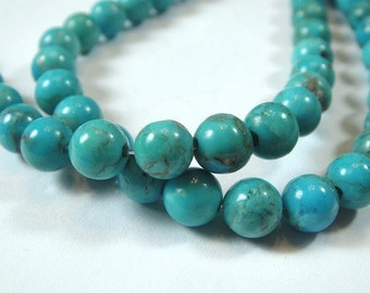 Turquoise Round Beads, 12 PCS,  Natural Kingman 4.5mm