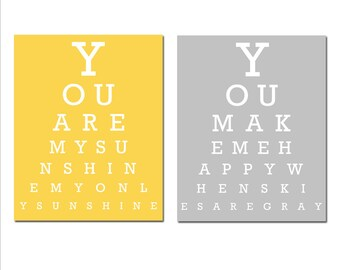 You Are My Sunshine, My Only Sunshine Eye Chart - Set of Two 11x14 Nursery Art Prints - CHOOSE YOUR COLORS - Yellow and Gray
