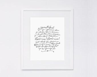 "O Beautiful for Spacious Skies (America, the Beautiful)  |  8x10"" Calligraphy Print, Patriotic Art Print, Patriotic Decor, Home Decor"
