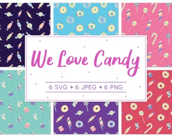 We Love Candy Pattern Design, Digital Paper, Vector Style