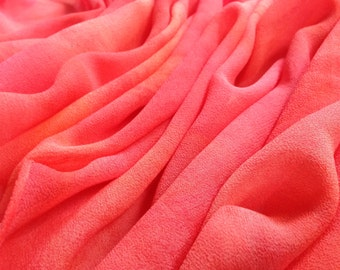 Pink Chiffon Silk Scarf / Hand Painted / Mother's Day Gift for Her / for Mom / Sherbet Colored / Coral / 12x64""