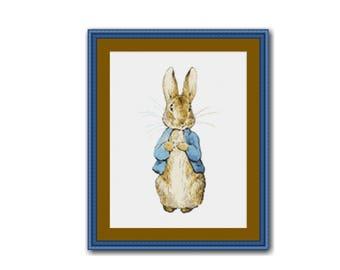 Peter Rabbit Cross Stitch Chart, Beatrix Potter,  Instant Download Cross Stitch Pattern  (BP033)