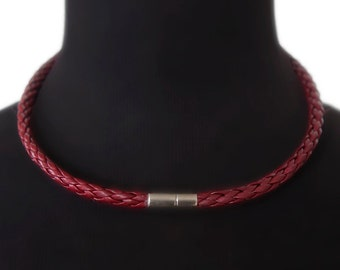 Burgundy braided leather choker, red leather necklace  - the Navarro