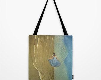Tote Bag for the dancer, dreamer, risktaker - she called it freedom - surreal collage art