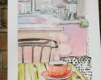 Morning Coffee - Original Watercolor Painting
