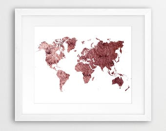 World Map Print, World Map Metal Texture Print, Copper Rustic World Map Poster, Modern Wall Art, Home Office Decor, Digital Printable Art