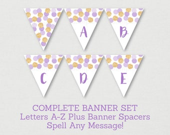 Purple & Gold Bridal Shower Banner / Glitter Bridal Shower / Glitter Dots / Confetti / Miss To MRS / Letters A-Z / INSTANT DOWNLOAD B113