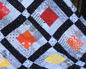 Rainbow Quilt, Modern Lap Quilt, Quilts for Sale, Handmade Throw, Homemade Blanket, Ready to Ship