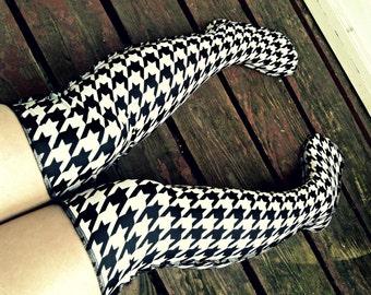 Prep school LONGSTOCKINGS over knee socks stockings black and white Houndstooth thigh high