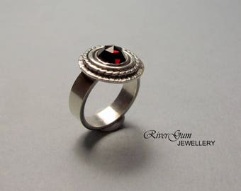 Garnet Ring, Sterling Silver Ring, Gemstone Ring, Size 6 & 1/4 or Size 7 Available, Concentric Circles, Metalwork by RiverGum Jewellery