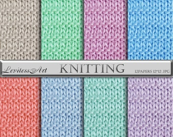 Knitted digital paper with pastel knit backgrounds, Knitting textures digital pattern Pastel digital paper Color background for scrapbooking