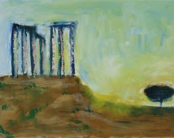 Oil painting of Temple of Poseidon at Cape Sounio