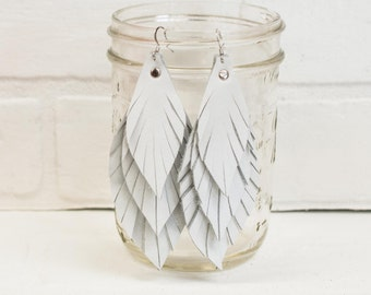 """4 1/2"""", recycled, leather feather earrings, leaf earrings, boho earrings, white earrings, feather earrings, tassel earrings, stacylynnc"""