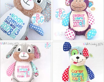 Personalised Teddy Bear, Cubby teddy bear, Embroidered Baby Teddy, New baby gift, Harlequin Cubbies, Personalised teddy bears