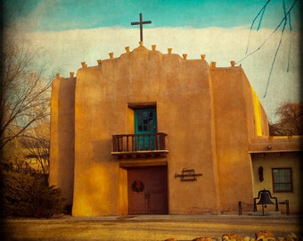 Southwest Home Decor New Mexico Photography Rustic Wall Art Adobe Church Fine Art Photograph