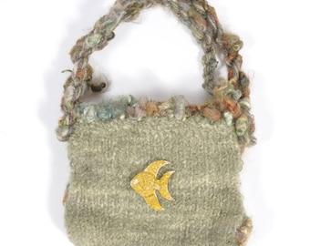 Hand Knit Sage Green Felt Bag - Under The Sea