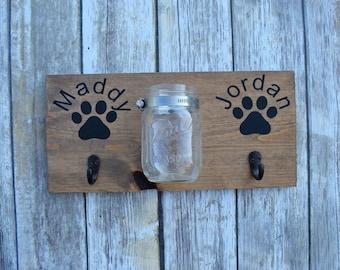 Double Dog Leash Hook and Treat Holder- Mounted Mason Jar- Customizable