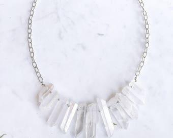 White Angel Aura Quartz Necklace