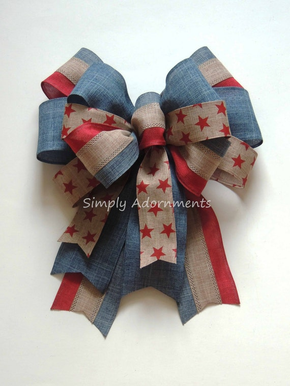 Rustic July 4th Wreath Bow Rustic Red Blue Neutral Wreath Bow Patriotic Wedding Pew Bow Fourth of July Party Decor Bow Independence Day Bow