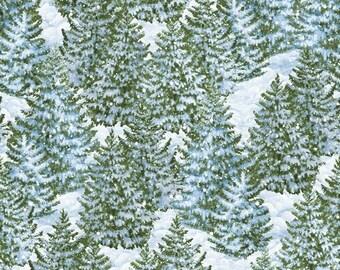 Christmas Fabric - Winter's Eve Snowy Pine Trees Blue - Wilmington YARD