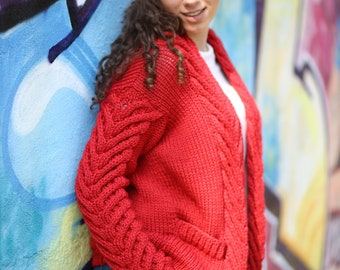 Womens Large Cardigan With Pockets, Cable Knit Red Cardigan, Long Red Sweater, Hand Knit Loose Sweaters, Oversized Cardigan, Wool Cardigan
