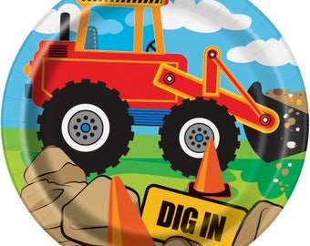 Construction Party Plates 7 inch/Dump Truck Party Plates/Bulldozer Party Plates/Tractor front loading Cake Plate
